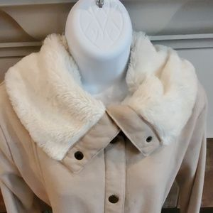 Merona Jacket with Faux Fur lined collar L